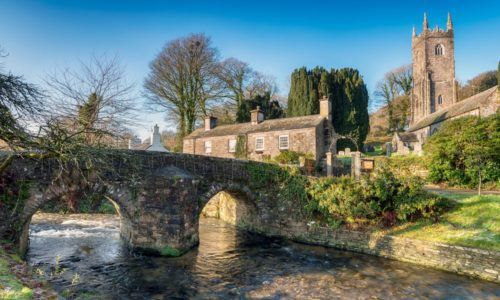 Bridge Over Stream in Cornish Village