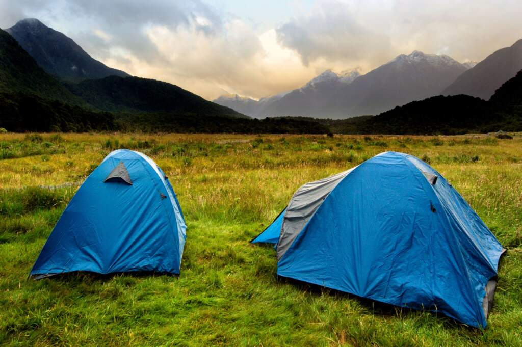 Tents with mountain view.
